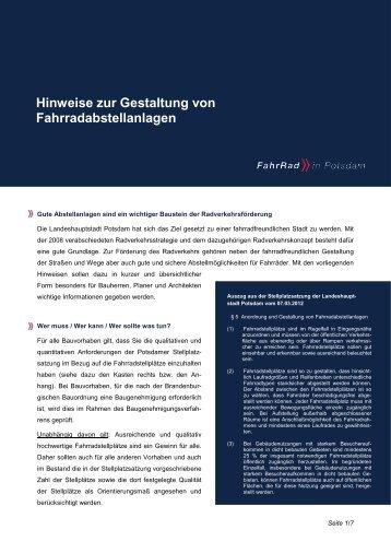 Hinweise zur Gestaltung von Fahrradabstellanlagen - Potsdam