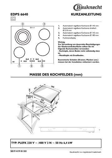 Akt 315 Bedienungsanleitung Masse Des Kochfeldes