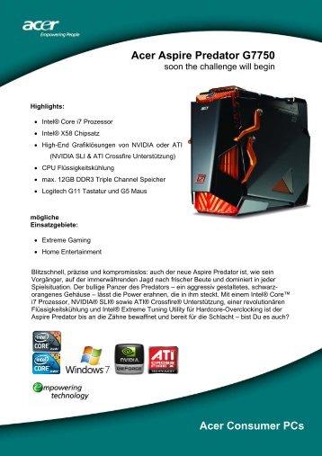 Acer Aspire Predator G7750 Acer Consumer PCs - ICEcat.biz