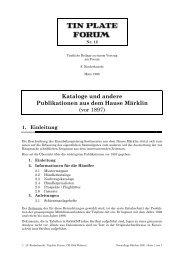 Kataloge und andere Publikationen aus dem Hause Märklin (vor ...