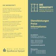Dienstleistungen Preise Informationen - Die Werkstatt