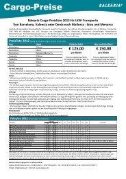 Balearia Cargo-Preisliste 2012 für LKW-Transporte Von ... - Exposa