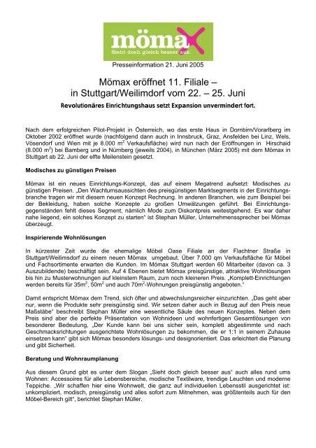Mömax Eröffnet 11 Filiale In Stuttgartweilimdorf Vom 22 25 Juni