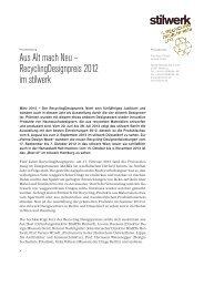 Aus Alt mach Neu – RecyclingDesignpreis 2012 im stilwerk