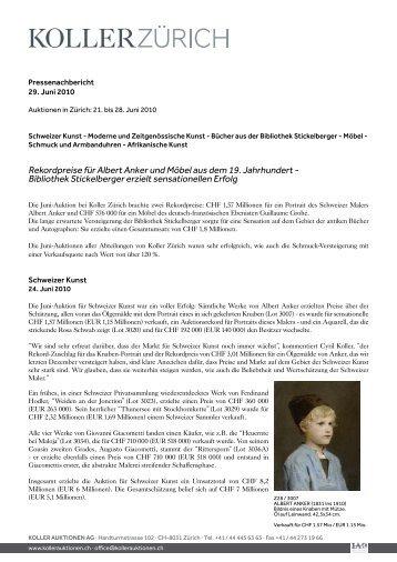 Rekordpreise für Albert Anker und Möbel aus ... - Koller Auktionen