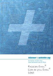 Preisliste Errex® Liste de prix Errex® 2010 - kiener + wittlin ag