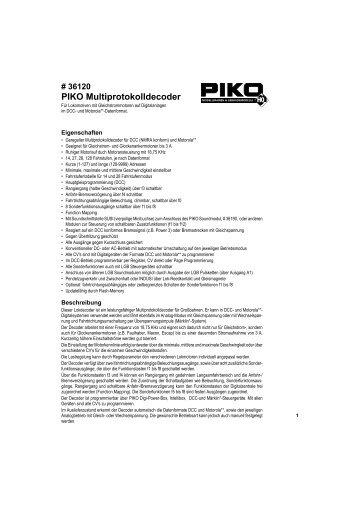 PIKO Multiprotokolldecoder - PIKO Spielwaren GmbH