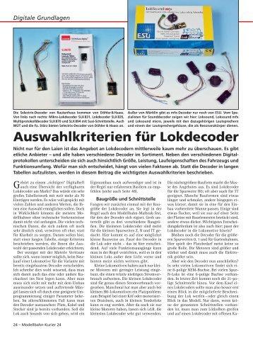 Auswahlkriterien für Lokdecoder - Digital-Pur