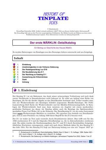 Der erste MÄRKLIN-Detailkatalog Inhalt 1. Einleitung - Tin Plate Fan