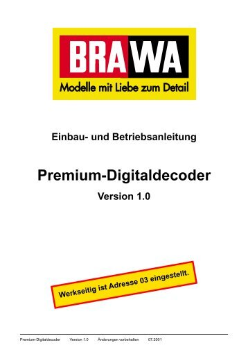 Einbau- und Betriebsanleitung Premium-Digitaldecoder Version 1.0 ...