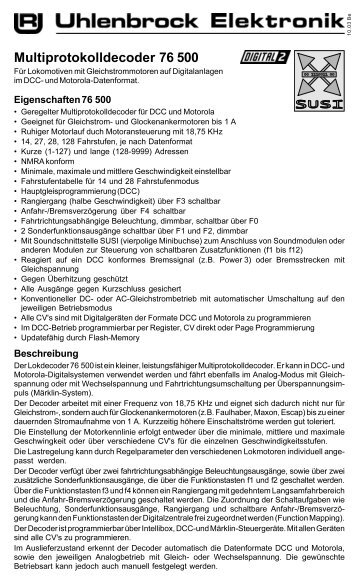 Anleitung - Uhlenbrock