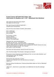 Intervention im Stadtrat vom 1.3.07 - Dällenbach Kari ... - PdA Bern