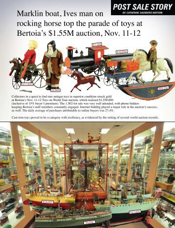 Marklin boat, Ives man on rocking horse top the ... - Bertoia Auctions