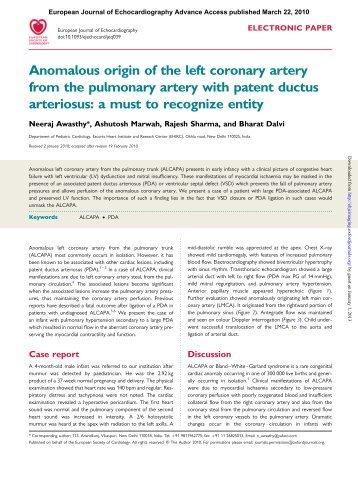 Anomalous origin of the left coronary artery from the pulmonary ...