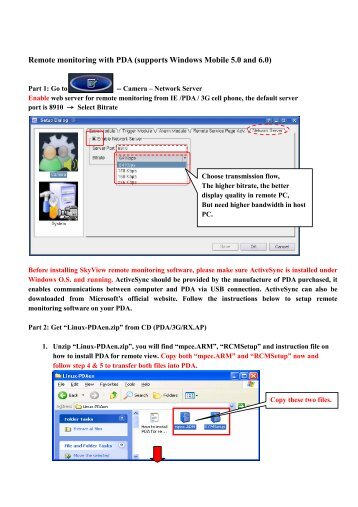 Remote monitoring with PDA (supports Windows Mobile ... - SkyView
