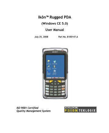 Ikôn Rugged PDA User Manual - Mobile Computing Solutions Austria