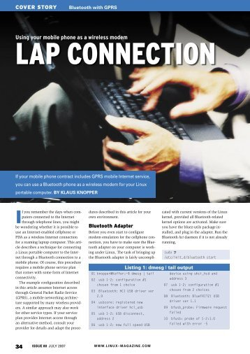 Using your mobile phone as a wireless modem - Linux Magazine
