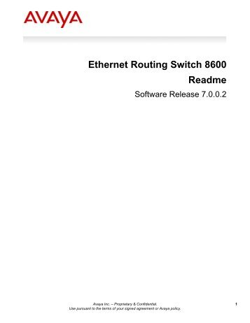 Ethernet Routing Switch 8600 Readme - Michael McNamara