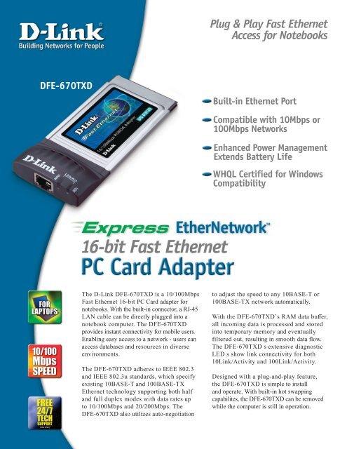 Dfe-670txd 10/100 ethernet pc card user's manual.