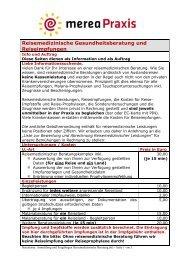 Anmeldung und Fragebogen Reisemedizinische Beratung - merea.de
