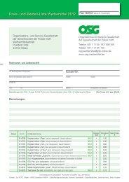 Preis- und Bestell-Liste Werbemittel 2012 - OSG Werbemittel