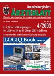 Ausgabe April 2003 - Landesärztekammer Brandenburg