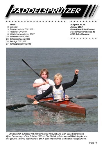 PS76 / 1 Ausgabe Nr.76 Januar 2008 Kanu Club Schaffhausen ...