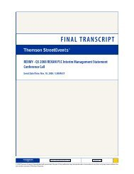 Q3 2008 REXAM PLC Interim Management Statement Conference ...