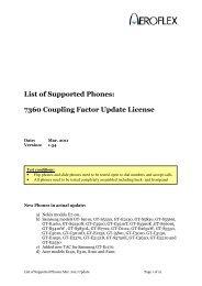 List of Supported Phones: 7360 Coupling Factor Update ... - Aeroflex