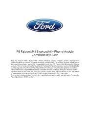 FG Falcon MkII Bluetooth®* Phone Module Compatibility Guide - Ford
