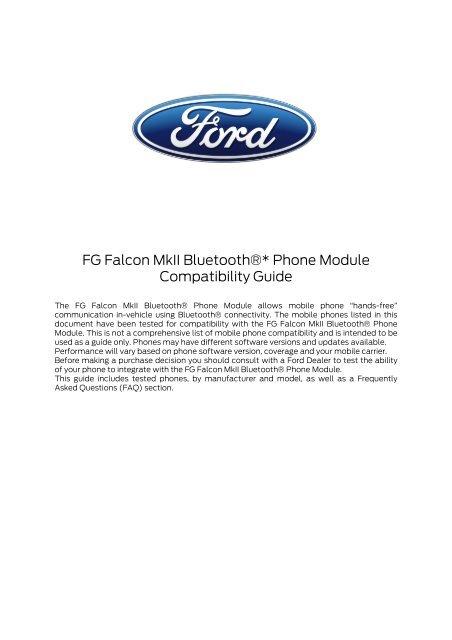 FG Falcon MkII Bluetooth®* Phone Module Compatibility Guide