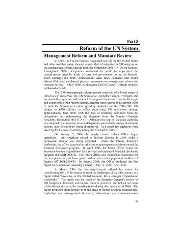 Part 5 -- Reform of the UN System - US Department of State
