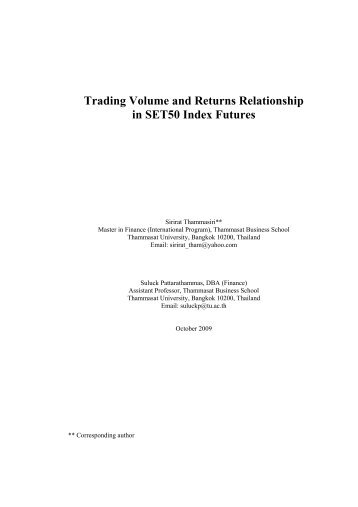 Trading Volume and Returns Relationship in SET50 Index Futures