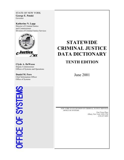 statewide criminal justice data dictionary - New York State