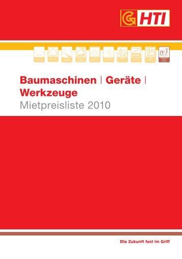 Baumaschinen | Geräte | Werkzeuge Mietpreisliste 2010 - HTI