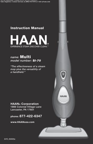 HAAN SI-70 Multi Steam Mop Instruction Manual | Sylvane