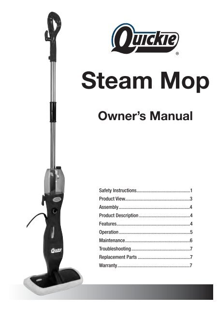 Owner S Manual Steam Mop Quickie Com