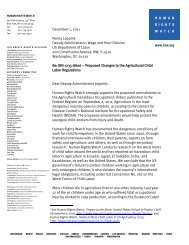 Letter to the Deputy Administrator - Human Rights Watch