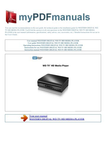 User manual WESTERN DIGITAL WD TV HD MEDIA PLAYER - 1
