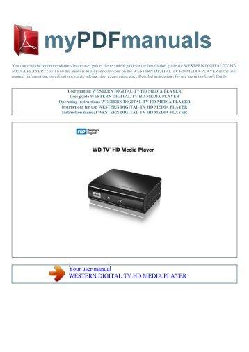 User manual WESTERN DIGITAL TV HD MEDIA PLAYER - 1
