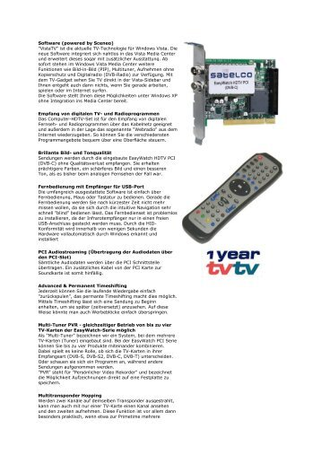 "Software (powered by Sceneo) ""VistaTV"" ist die aktuelle TV ..."