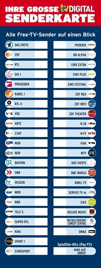 Senderkarte für Unitymedia-Kunden - TV Digital