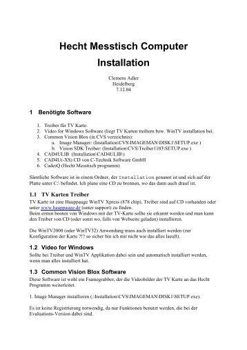 Hecht Messtisch Computer Installation