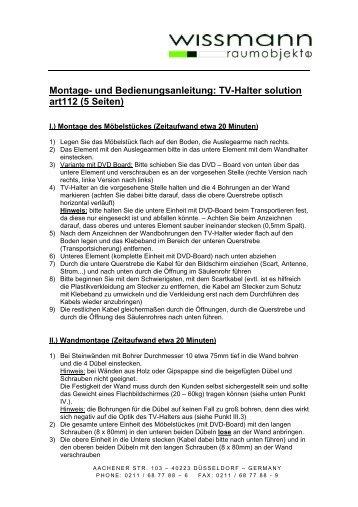 und Bedienungsanleitung: TV-Halter solution art112 - four traders ...