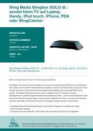 Sling Media Slingbox SOLO dt.: sendet Heim-TV auf Laptop, Handy ...