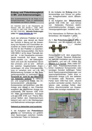 Praktische Hinweise zur Erdung von Antennenanlagen