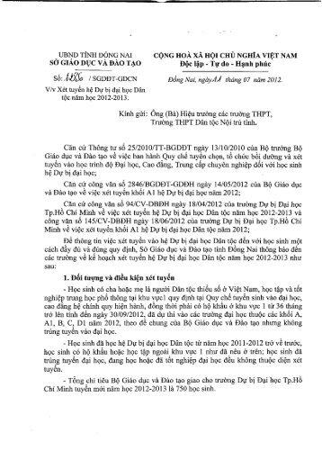 UBND TlNH DONG NAI S6:JJXG /SGDDT-GDCN V/v Xet tuy~n h ...