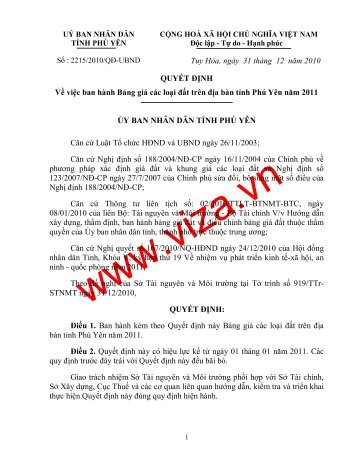 Tuy Hòa, ngày 31 tháng 12 năm 2010 QUYẾT ĐỊNH Về ... - viza.vn