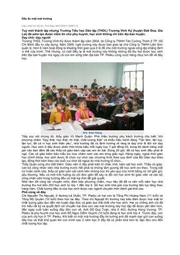Tuy mới thành lập nhưng Trường Tiểu học Dân lập (THDL) Trương ...