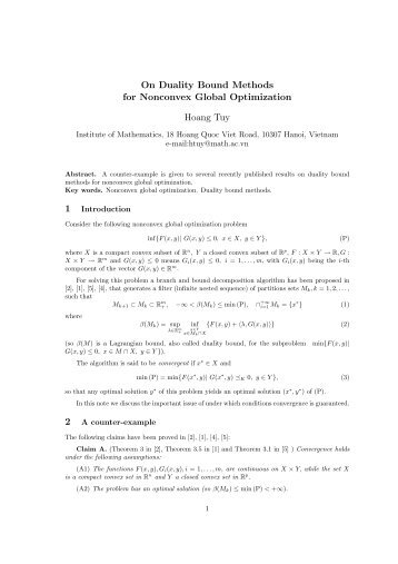 On Duality Bound Methods for Nonconvex Global Optimization ...